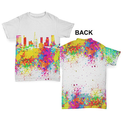 Los Angeles Skyline Ink Splats Baby Toddler ALL-OVER PRINT Baby T-shirt