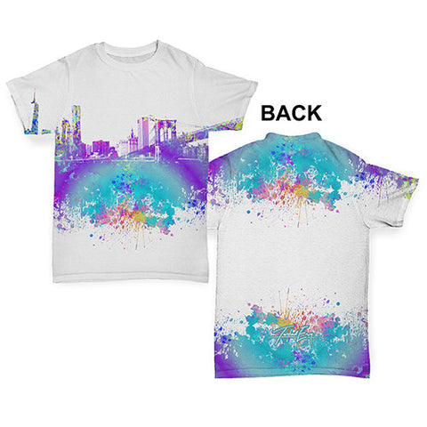 New York Skyline Ink Splats Baby Toddler ALL-OVER PRINT Baby T-shirt