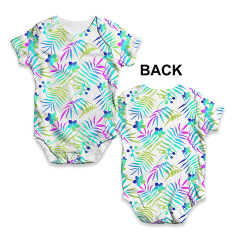Floral Leaf Pattern Baby Unisex ALL-OVER PRINT Baby Grow Bodysuit