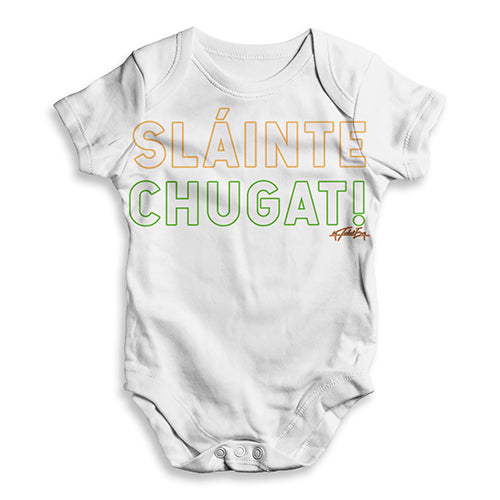 Baby Boy Clothes St Patricks Day Slainte Chugat Baby Unisex ALL-OVER PRINT Baby Grow Bodysuit 6-12 Months White