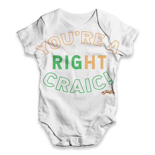 Funny Baby Clothes St Patricks Day You're A Right Craic Baby Unisex ALL-OVER PRINT Baby Grow Bodysuit 18-24 Months White