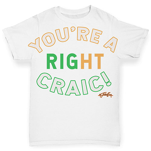 Baby Tshirts St Patricks Day You're A Right Craic Baby Toddler ALL-OVER PRINT Baby T-shirt 3-6 Months White