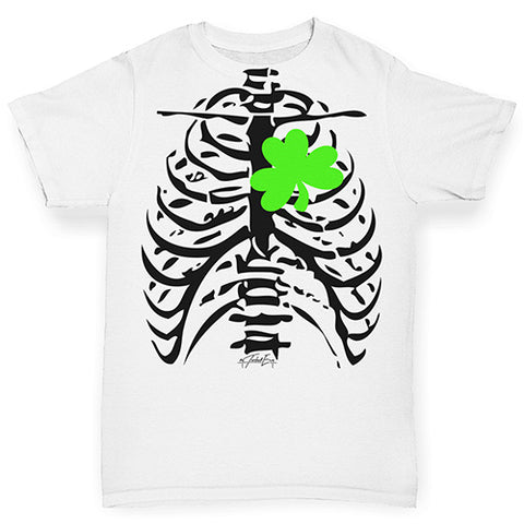 Funny Baby Onesies T Shirts Irish X-Ray Shamrock Heart Baby Toddler ALL-OVER PRINT Baby T-shirt 3-6 Months White
