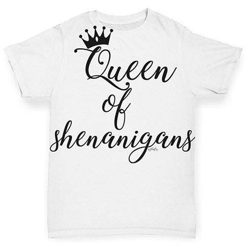 Funny Baby Clothes St Patrick's Day Queen of Shenanigans Baby Toddler ALL-OVER PRINT Baby T-shirt 18-24 Months White