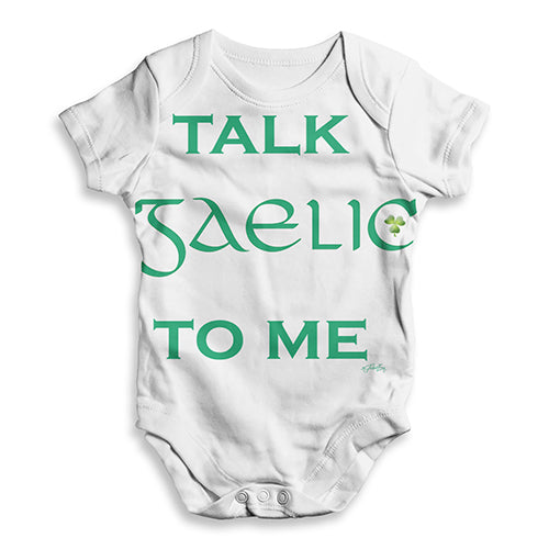 ALL-OVER PRINT Baby Bodysuit St Patrick's Day Talk Gaelic To me Baby Unisex ALL-OVER PRINT Baby Grow Bodysuit 12-18 Months White
