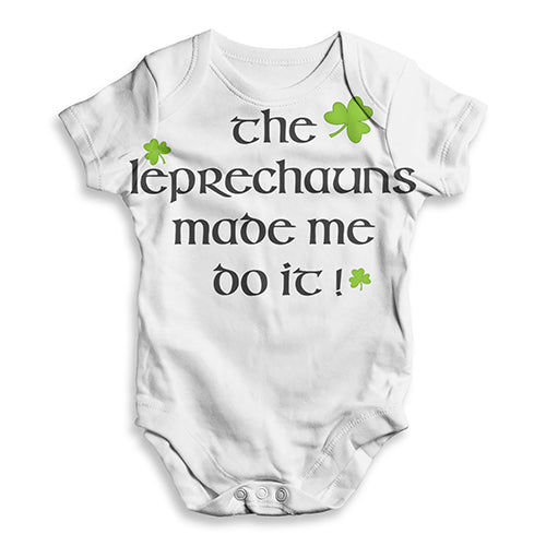 Funny Infant Baby Bodysuit The Leprechaun Made Me Do It Baby Unisex ALL-OVER PRINT Baby Grow Bodysuit 0-3 Months White