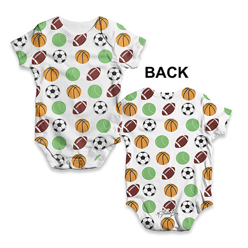 Sports Balls Baby Unisex ALL-OVER PRINT Baby Grow Bodysuit