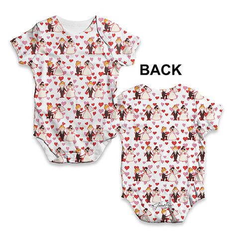 Harry And Meghan Hearts Pattern Baby Unisex ALL-OVER PRINT Baby Grow Bodysuit
