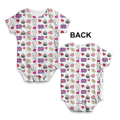 Royal Wedding Symbols Pattern Baby Unisex ALL-OVER PRINT Baby Grow Bodysuit
