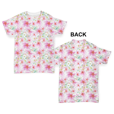 Soft Pastel Frangipani Pattern Baby Toddler ALL-OVER PRINT Baby T-shirt