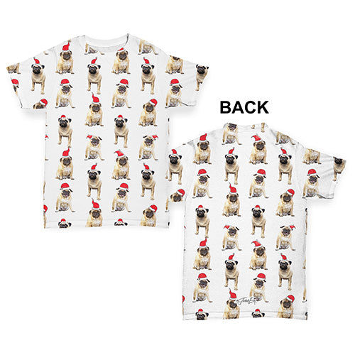 Santa Hat Pugs Pattern Baby Toddler ALL-OVER PRINT Baby T-shirt