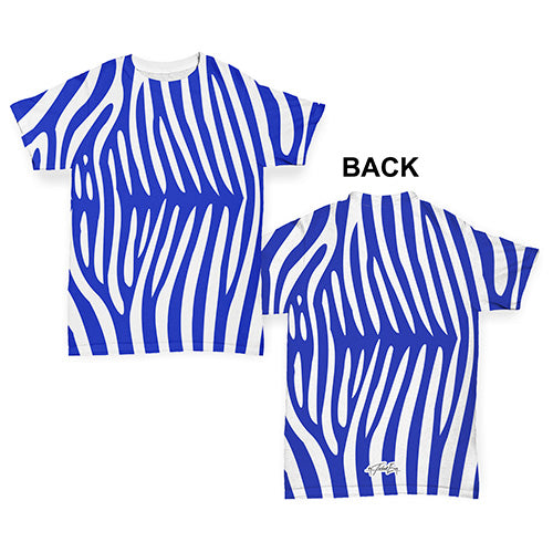 Blue Zebra Pattern Baby Toddler ALL-OVER PRINT Baby T-shirt