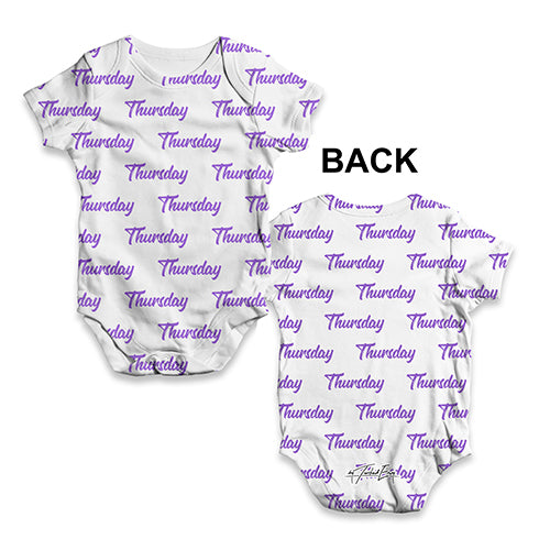 Funny Infant Baby Bodysuit Thursday Repeat Pattern Baby Unisex ALL-OVER PRINT Baby Grow Bodysuit Newborn White