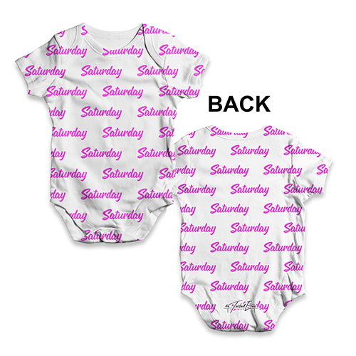 ALL-OVER PRINT Bodysuit Onesie Saturday Repeat Pattern Baby Unisex ALL-OVER PRINT Baby Grow Bodysuit 18-24 Months White