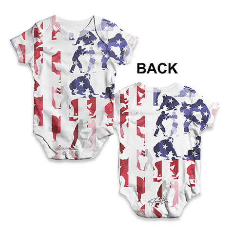 USA Judo Collage Baby Unisex ALL-OVER PRINT Baby Grow Bodysuit