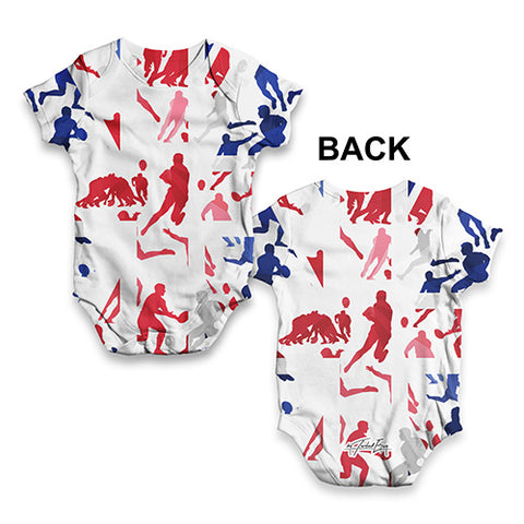 GB Rugby Collage Baby Unisex ALL-OVER PRINT Baby Grow Bodysuit