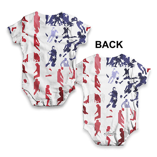 USA Rugby Collage Baby Unisex ALL-OVER PRINT Baby Grow Bodysuit