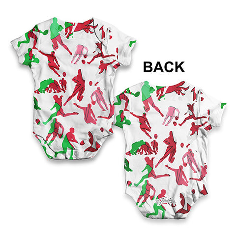Wales Rugby Collage Baby Unisex ALL-OVER PRINT Baby Grow Bodysuit