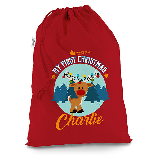 Personalised My First Christmas With Reindeer Red Christmas Present Santa Sack Mail Post Bag
