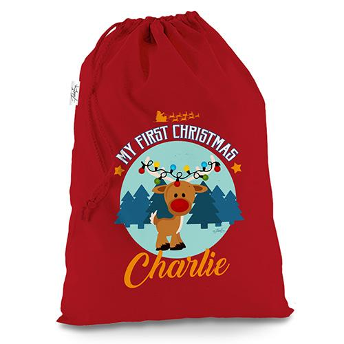 Personalised My First Christmas With Reindeer Red Christmas Santa Sack Gift Bag