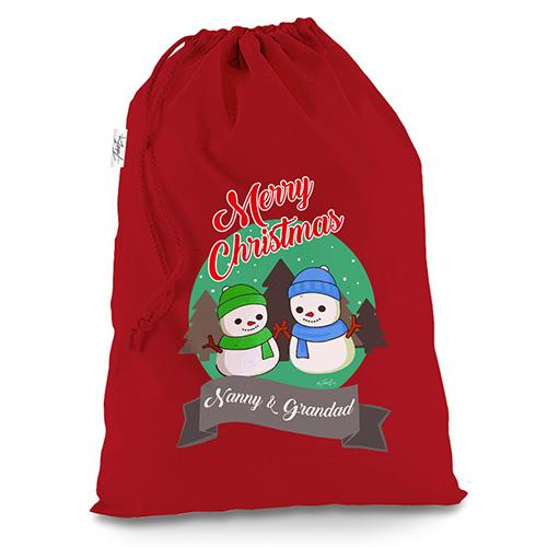 Personalised Snowman Merry Christmas Red Christmas Santa Sack Mail Post Bag