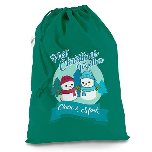 Personalised My First Snowman Christmas Green Luxury Christmas Santa Sack