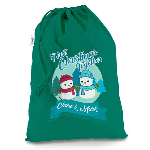 Personalised My First Snowman Christmas Green Christmas Present Santa Sack Mail Post Bag