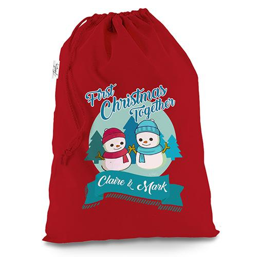 Personalised My First Snowman Christmas Red Christmas Santa Sack Gift Bag