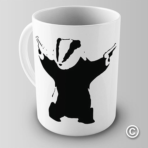 Banksy Badger With Guns Novelty Mug