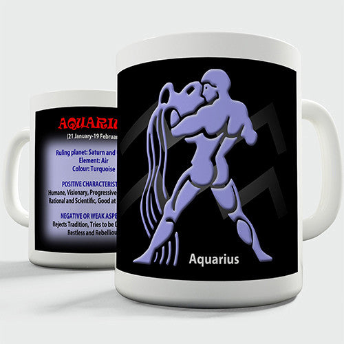 Zodiac Star Sign Aquarius Novelty Mug