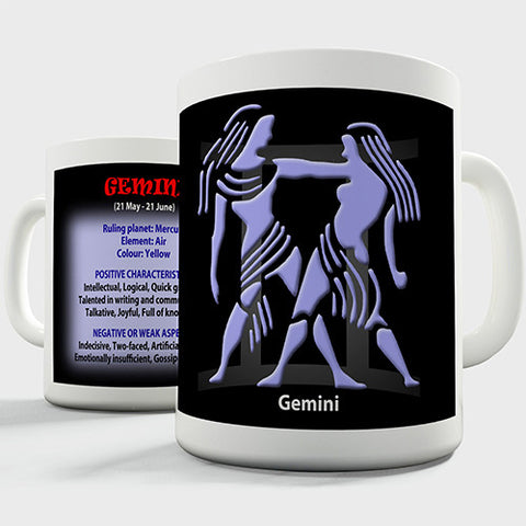 Zodiac Star Sign Gemini Novelty Mug