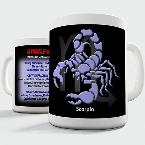 Zodiac Star Sign Scorpio Novelty Mug