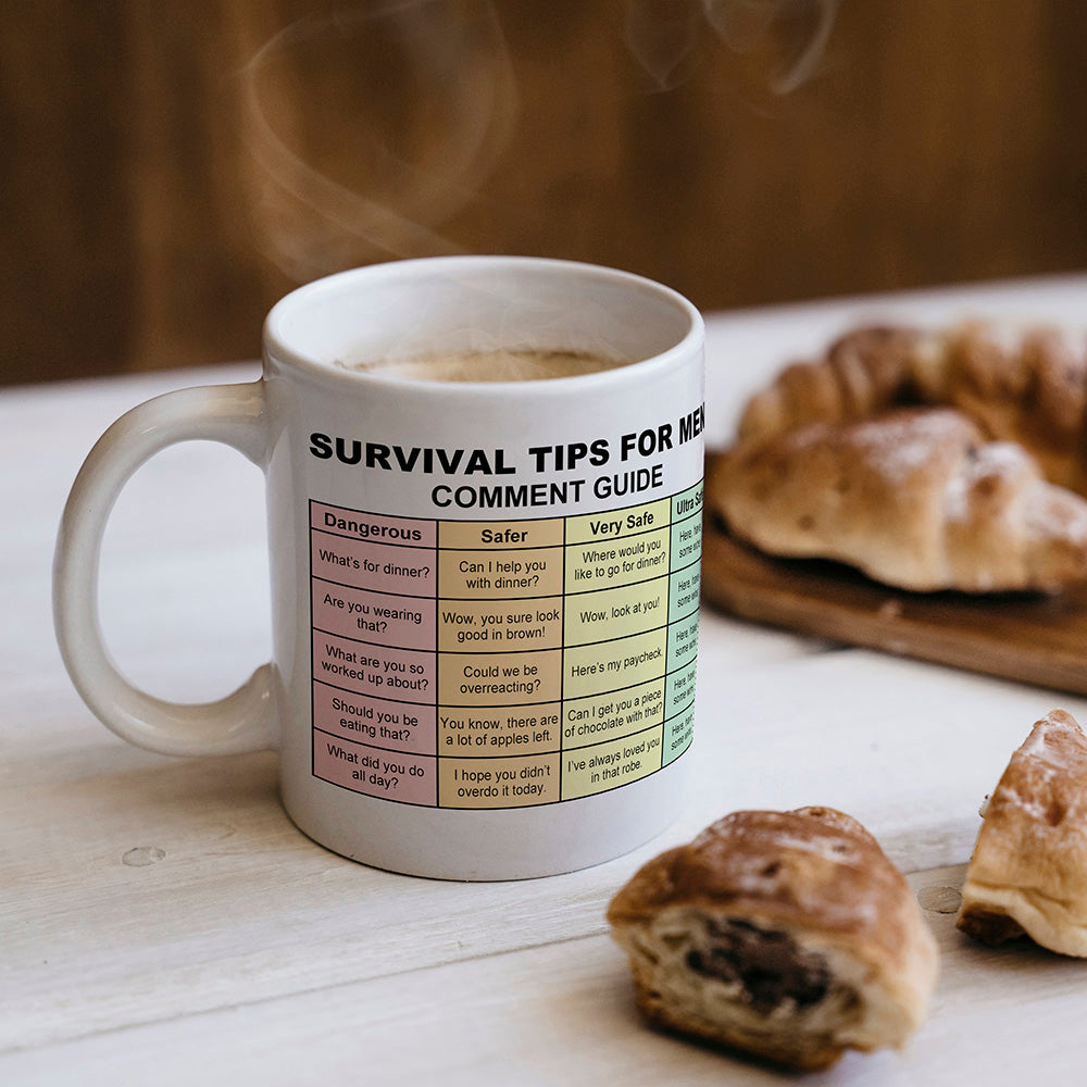 Survival Tips For Men Funny Mug