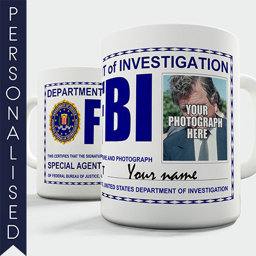 FBI Badge Personalised Mug - Twisted Envy Funny, Novelty and Fashionable tees