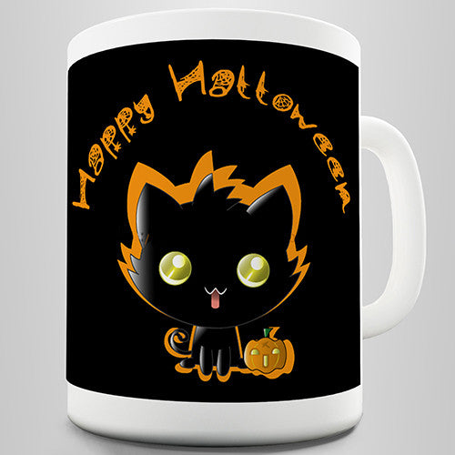 Black Cat Happy Halloween Novelty Mug