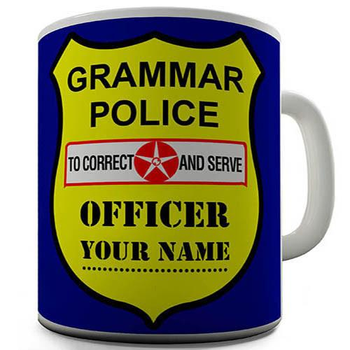 Grammar Police Shield Personalised Mug