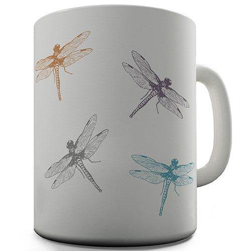 Colourful Dragonflies Novelty Mug