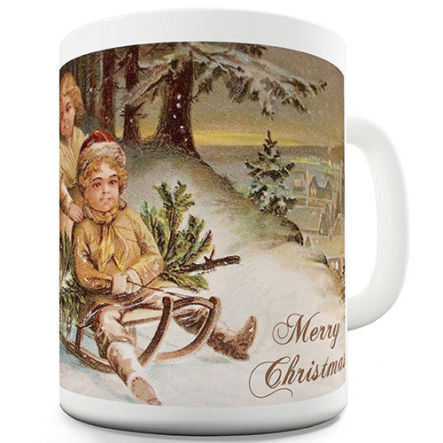 Christmas Card Kids Playing Novelty Mug