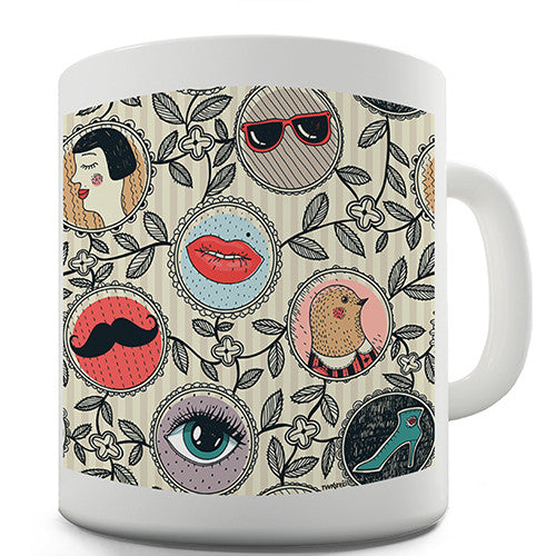Circle Pattern Print Novelty Mug