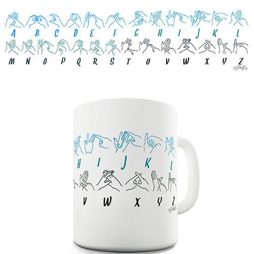 BSL Sign Alphabet Novelty Mug