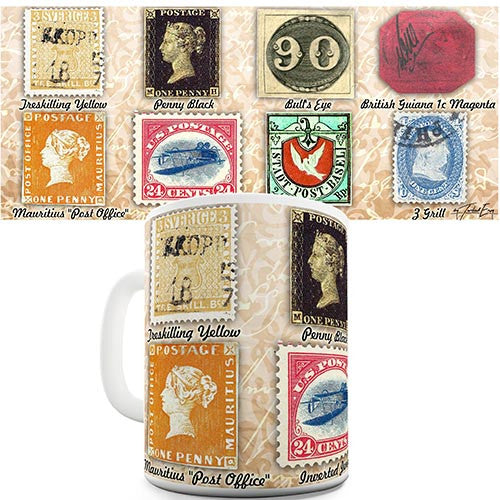 Collection Of Old Stamps Novelty Mug