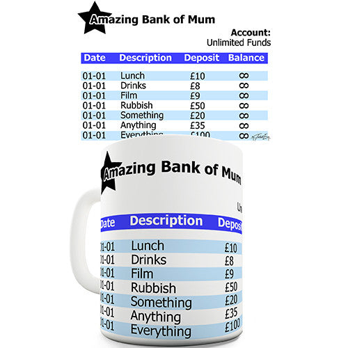 Amazing Bank Of Mum Novelty Mug
