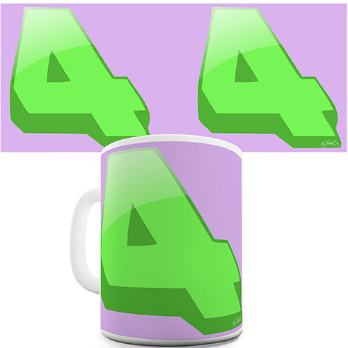 Four 4 Number Print Novelty Mug
