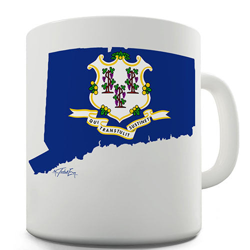 Connecticut Flag And Map USA Novelty Mug