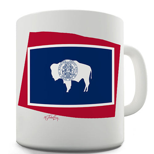 Wyoming Flag And Map USA Novelty Mug