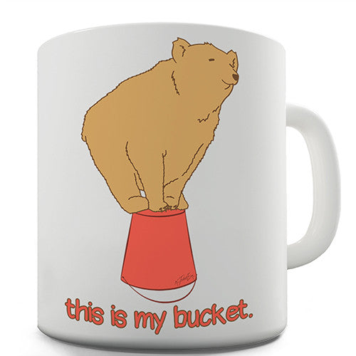 Silly Bear On A Bucket Novelty Mug