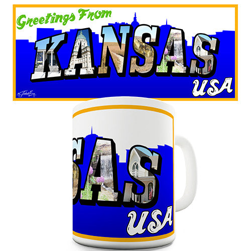 Greetings From Kansas Novelty Mug