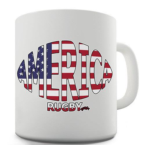 America Rugby Ball Flag Novelty Mug