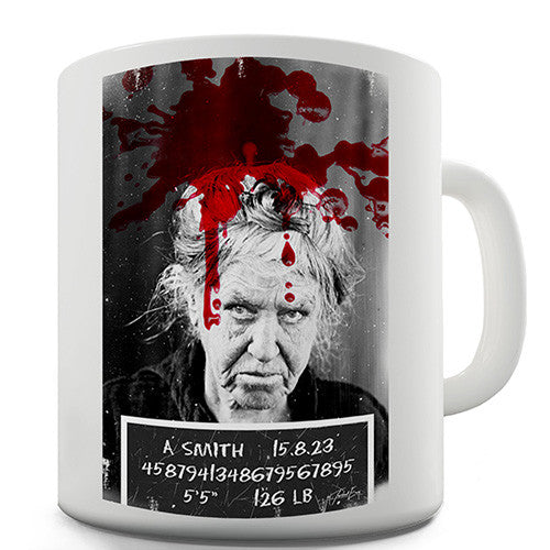 Blood Stained Mugshot Novelty Mug