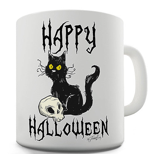 Happy Halloween Black Cat Novelty Mug